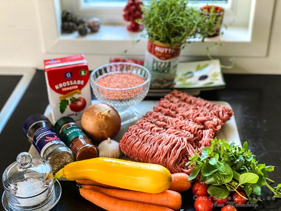 Köttfärsgryta med linser