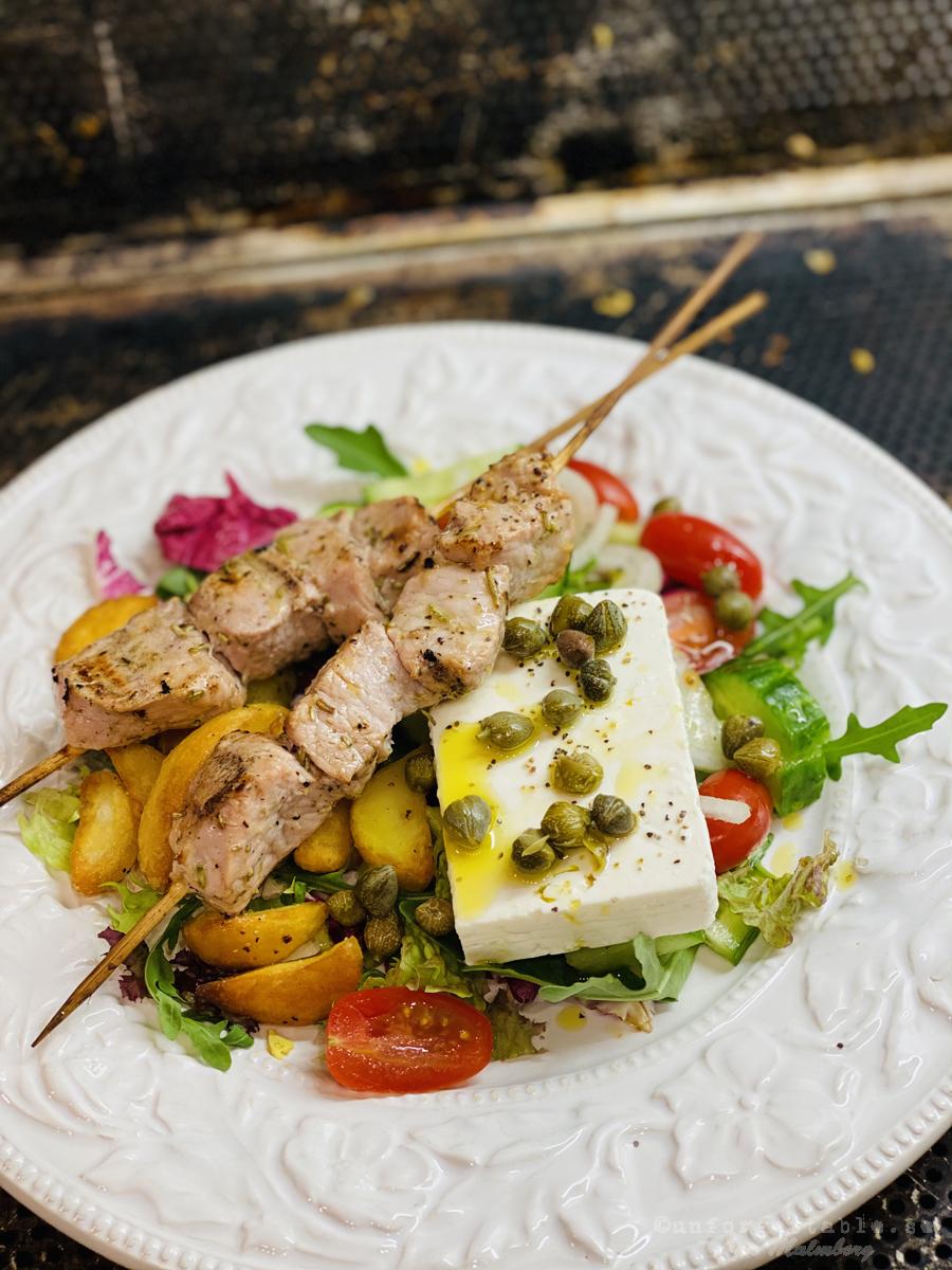 Souvlaki med grekisk sallad & Samosminnen